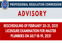 Rescheduling of February 20-21, 2021 Licensure Examination for Master Plumbers on July 18-19, 2021